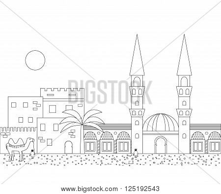 Islamic outline cityscape with houses mosque and minaret. Mosques and minarets horizontal patterns. Vector illustration