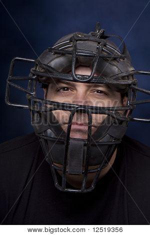 Man In A Catcher's Mask - Vertical