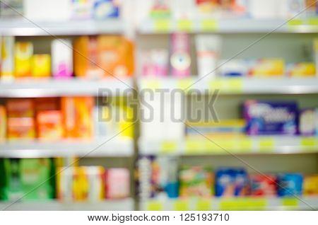 Blurry pharmacy drugstore. Pharmaceutical background. Drugstore. Pills