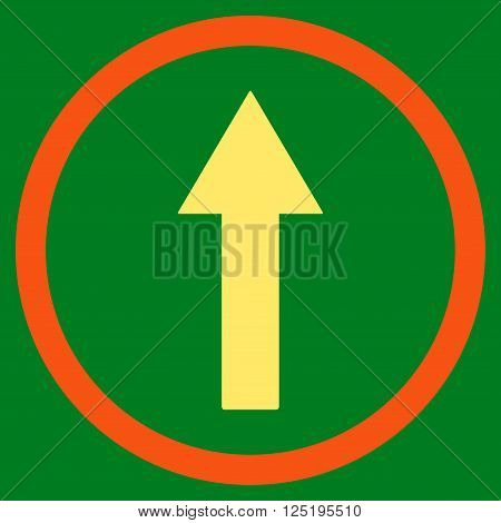 Up Rounded Arrow vector icon. Up Rounded Arrow icon symbol. Up Rounded Arrow icon image. Up Rounded Arrow icon picture. Up Rounded Arrow pictogram. Flat orange and yellow up rounded arrow icon.