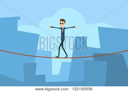 Businessman Walk Over Gap Business Man Balancing Problem Risk Concept Big City Background Flat Vector Illustration