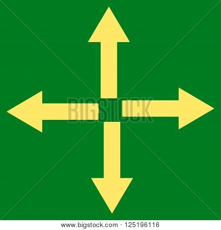 Expand Arrows vector icon. Expand Arrows icon symbol. Expand Arrows icon image. Expand Arrows icon picture. Expand Arrows pictogram. Flat yellow expand arrows icon.