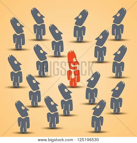 cartoon illustration of business choice in crowd. red male silhouette