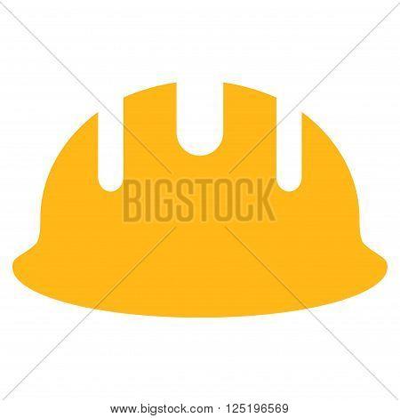 Builder Hardhat vector icon. Builder Hardhat icon symbol. Builder Hardhat icon image. Builder Hardhat icon picture. Builder Hardhat pictogram. Flat yellow builder hardhat icon.