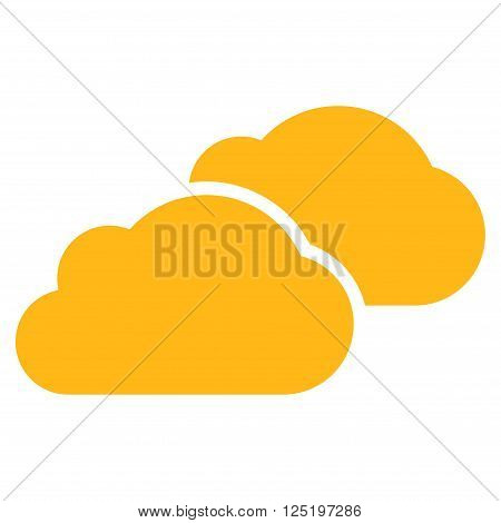 Clouds vector icon. Clouds icon symbol. Clouds icon image. Clouds icon picture. Clouds pictogram. Flat yellow clouds icon. Isolated clouds icon graphic. Clouds icon illustration.