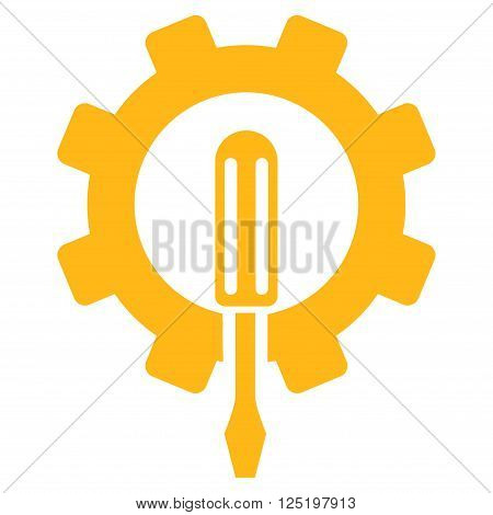 Engineering vector icon. Engineering icon symbol. Engineering icon image. Engineering icon picture. Engineering pictogram. Flat yellow engineering icon. Isolated engineering icon graphic.