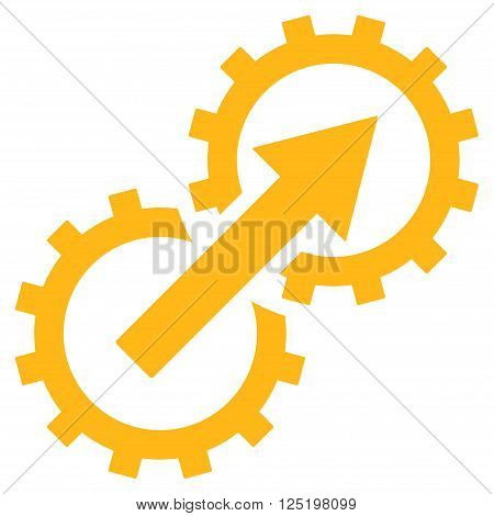 Gear Integration vector icon. Gear Integration icon symbol. Gear Integration icon image. Gear Integration icon picture. Gear Integration pictogram. Flat yellow gear integration icon.