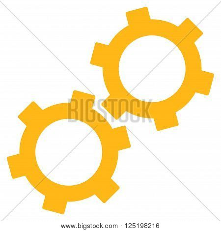 Gears vector icon. Gears icon symbol. Gears icon image. Gears icon picture. Gears pictogram. Flat yellow gears icon. Isolated gears icon graphic. Gears icon illustration.