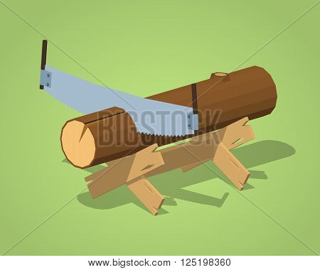 Work bench with the log and handsaw against the green background. 3D lowpoly isometric vector illustration