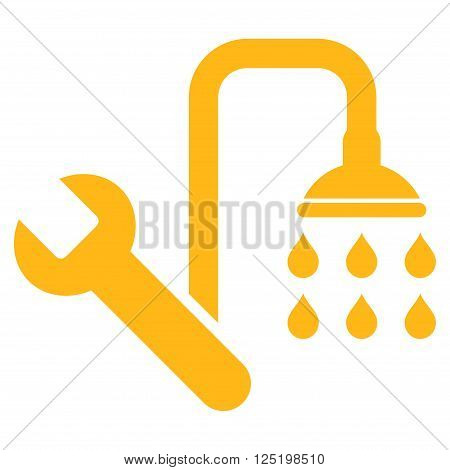 Plumbing vector icon. Plumbing icon symbol. Plumbing icon image. Plumbing icon picture. Plumbing pictogram. Flat yellow plumbing icon. Isolated plumbing icon graphic. Plumbing icon illustration.