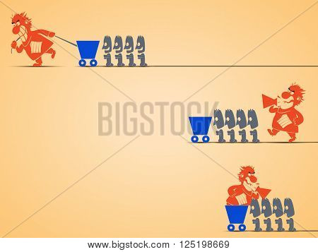 cartoon illustration of different types of management by leaders. leader is screaming and workers are doing