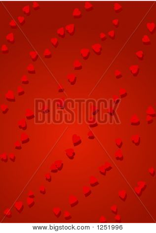 diagonal rows of little red hearts on red background poster