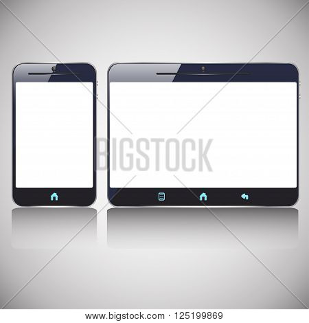 illustration of colored dark smart phone and tablet with blank screen amd blue buttons