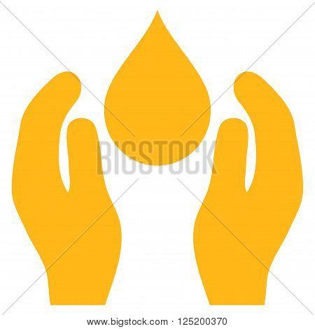Water Care vector icon. Water Care icon symbol. Water Care icon image. Water Care icon picture. Water Care pictogram. Flat yellow water care icon. Isolated water care icon graphic.