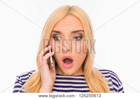 Surprised  Woman With Open Mouth Talking On The Phone