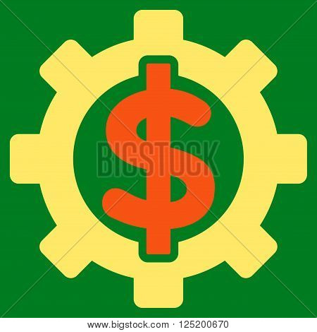 Financial Options vector icon. Financial Options icon symbol. Financial Options icon image. Financial Options icon picture. Financial Options pictogram. Flat orange and yellow financial options icon.