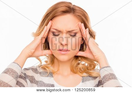Attractive Young Woman Suffering Of Strong Migraine
