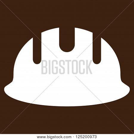 Builder Hardhat vector icon. Builder Hardhat icon symbol. Builder Hardhat icon image. Builder Hardhat icon picture. Builder Hardhat pictogram. Flat white builder hardhat icon.