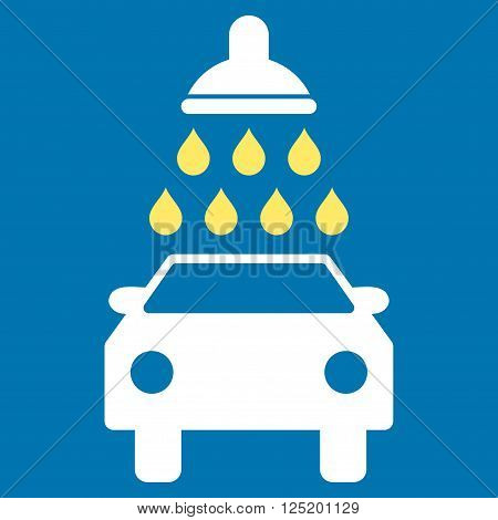 Car Wash vector icon. Car Wash icon symbol. Car Wash icon image. Car Wash icon picture. Car Wash pictogram. Flat yellow and white car wash icon. Isolated car wash icon graphic.