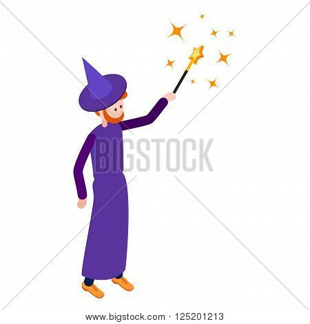 Cute wizard casts a spell using a magic wand. Wizard isolated on white background. Isometric icon of wizard. Vector illustration.