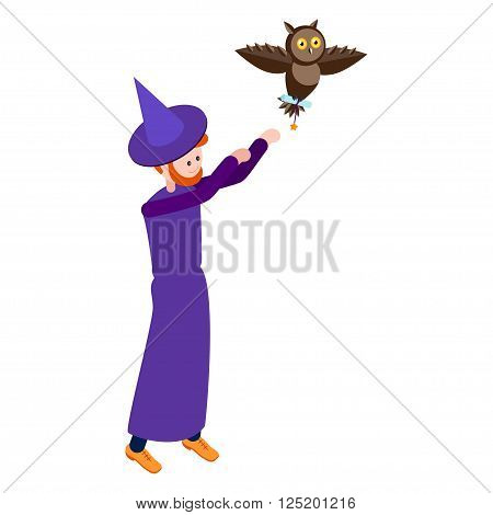 Cute wizard sends the mail owl. Wizard isolated on white background. Isometric icon of wizard. Vector illustration.