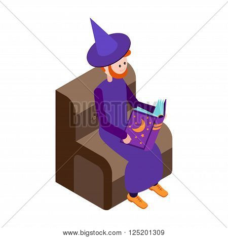 Cute wizard reads the book. Wizard isolated on white background. Isometric icon of wizard. Vector illustration.