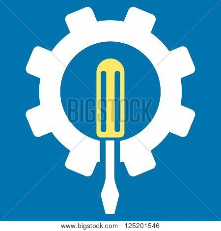Engineering vector icon. Engineering icon symbol. Engineering icon image. Engineering icon picture. Engineering pictogram. Flat yellow and white engineering icon. Isolated engineering icon graphic.