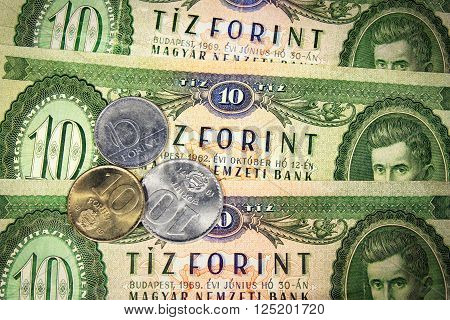 Hungarian old ten forints and three coins with ten value poster