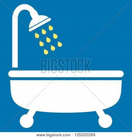 Shower Bath vector icon. Shower Bath icon symbol. Shower Bath icon image. Shower Bath icon picture. Shower Bath pictogram. Flat yellow and white shower bath icon. Isolated shower bath icon graphic.
