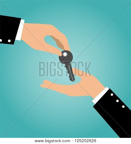 Business Hand Giving A Key To Another Hand