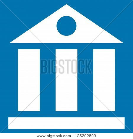 Bank Building vector icon. Bank Building icon symbol. Bank Building icon image. Bank Building icon picture. Bank Building pictogram. Flat white bank building icon. Isolated bank building icon graphic.