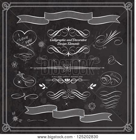 Calligraphic decorative elements in vector format. Ideal for creative layout greeting cards invitations books brochures stencil and many more uses.