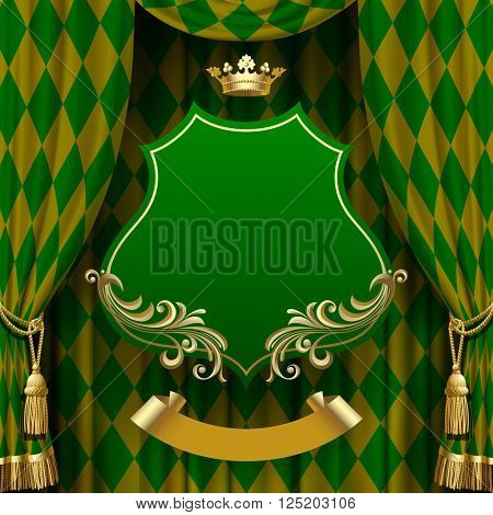 Green rhomboids background with a suspended decorative baroque signboard and gold crown. Square presentation artistic poster and placard
