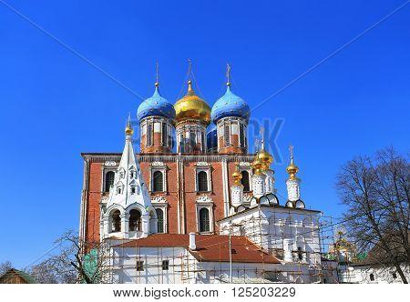 Ancient orthodox church in scaffolding for restoration