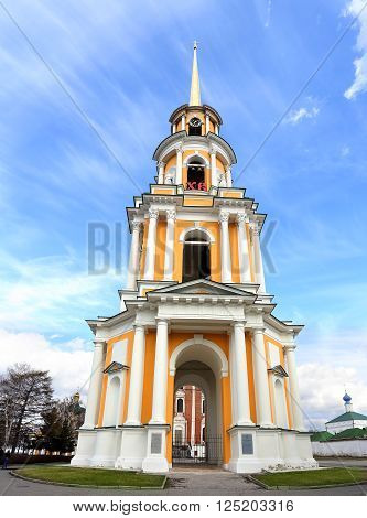 View of belfry of the Ryazan Kremlin against the background of a blue sky