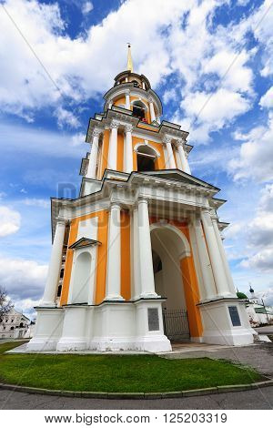 View of belfry of the Ryazan Kremlin against the background of a cloudy sky