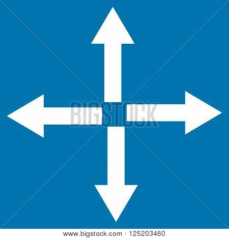 Expand Arrows vector icon. Expand Arrows icon symbol. Expand Arrows icon image. Expand Arrows icon picture. Expand Arrows pictogram. Flat white expand arrows icon. Isolated expand arrows icon graphic.