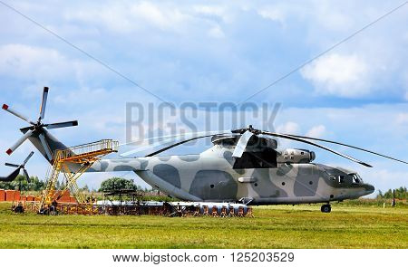 TVER REGION  -   JUNE 28: Modern russian military transport helicopter airfield facilities and other technical equipment at the air base  -  on June 28, 2014 in Tver region