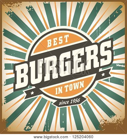 Retro style burger sign, vintage poster template, fast food restaurant background. Vintage hamburger metal sign on old scratched texture.