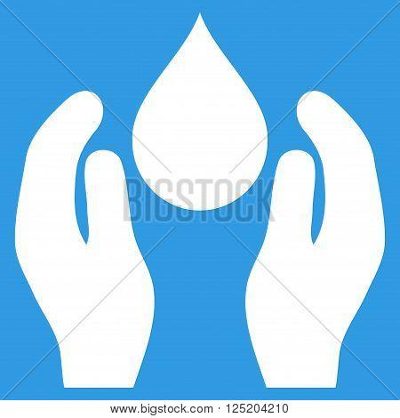 Water Care vector icon. Water Care icon symbol. Water Care icon image. Water Care icon picture. Water Care pictogram. Flat white water care icon. Isolated water care icon graphic.
