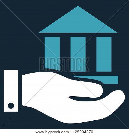 Bank Service vector icon. Bank Service icon symbol. Bank Service icon image. Bank Service icon picture. Bank Service pictogram. Flat blue and white bank service icon.