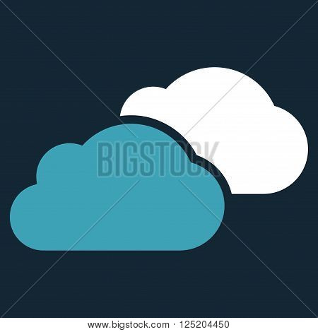 Clouds vector icon. Clouds icon symbol. Clouds icon image. Clouds icon picture. Clouds pictogram. Flat blue and white clouds icon. Isolated clouds icon graphic. Clouds icon illustration.
