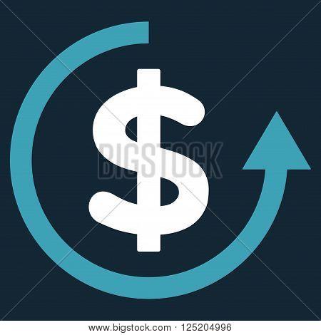 Refund vector icon. Refund icon symbol. Refund icon image. Refund icon picture. Refund pictogram. Flat blue and white refund icon. Isolated refund icon graphic. Refund icon illustration.