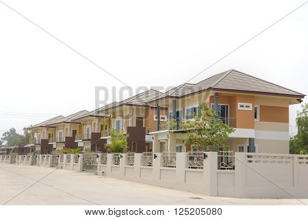 Row of new houses in the suburb.