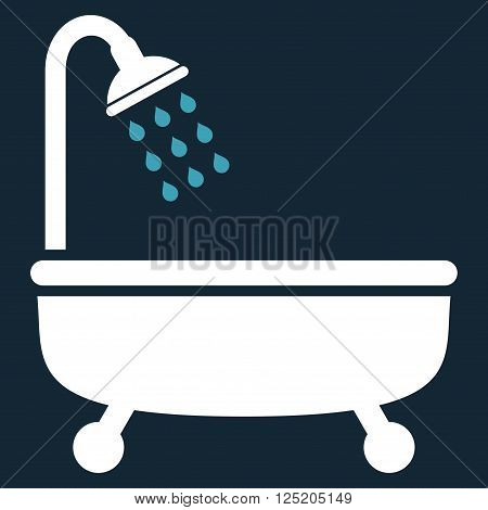 Shower Bath vector icon. Shower Bath icon symbol. Shower Bath icon image. Shower Bath icon picture. Shower Bath pictogram. Flat blue and white shower bath icon. Isolated shower bath icon graphic.