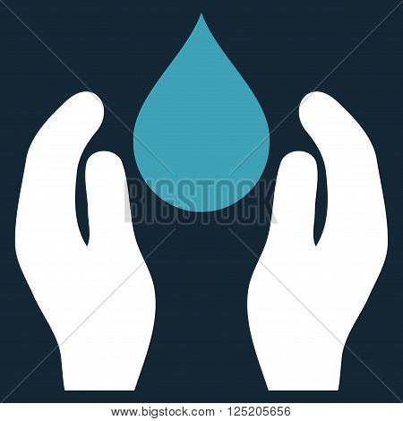 Water Care vector icon. Water Care icon symbol. Water Care icon image. Water Care icon picture. Water Care pictogram. Flat blue and white water care icon. Isolated water care icon graphic.
