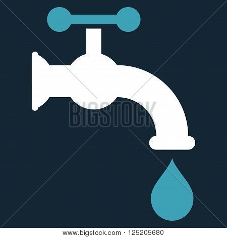 Water Tap vector icon. Water Tap icon symbol. Water Tap icon image. Water Tap icon picture. Water Tap pictogram. Flat blue and white water tap icon. Isolated water tap icon graphic.