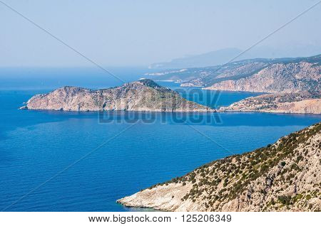 View of Assos village on Kefalonia island Greece