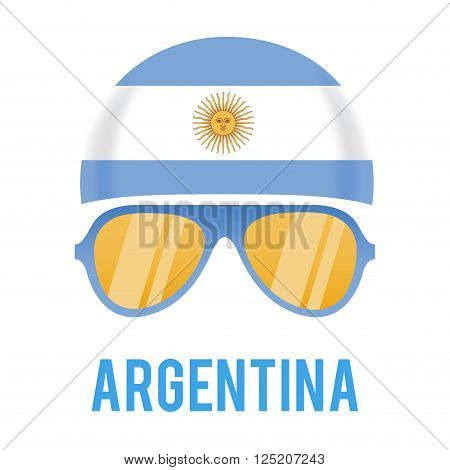Head band and sunglasses with Argentina insignia vector illustration