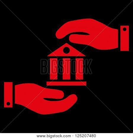 Bank Service vector icon. Bank Service icon symbol. Bank Service icon image. Bank Service icon picture. Bank Service pictogram. Flat red bank service icon. Isolated bank service icon graphic.